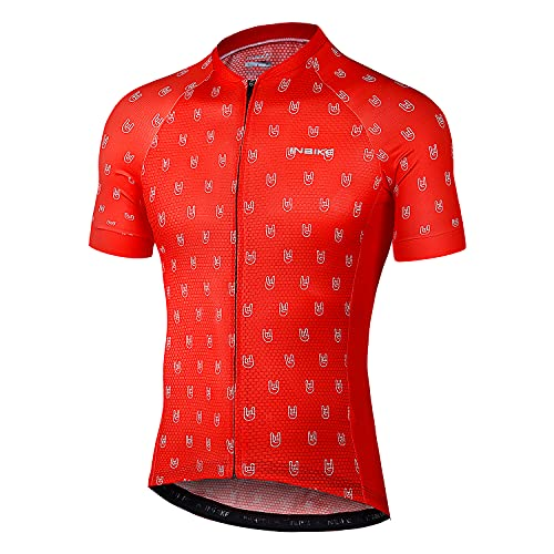 INBIKE Maglia da Ciclismo Estivi Uomo Maniche Corte Traspirante Asciugatura Rapida Magliette MTB Abbigliamento Mountain Bike MTB (Rosso,L)