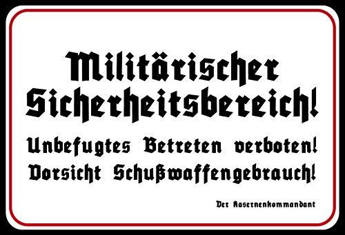 FS Militärischer Sicherheitsbereich Blechschild Schild gewölbt Metal Sign 20 x 30 cm
