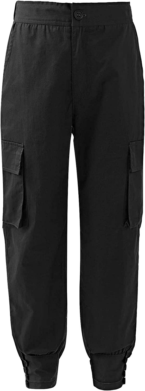 easyforever Girls' Boys' Jogger Cargo Pants Active Overalls Trousers Sweatpants Hip Hop Streetwear Elastic Waist Bottom