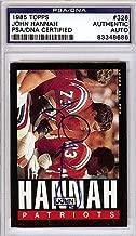 John Hannah Signed 1985 Topps Trading Card - PSA/DNA Authentication - Autographed NFL Football Memorabilia