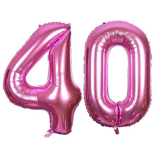 SMARCY Ballon pour Le 40ème Anniversaire Décoration de 40 Ans Grands Chiffres 4 et 0 (Rose)