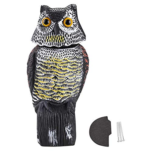 Tangxi Motion Activated Owl for Garden Protection Bird Repellent - Rotating Head Owl Decoy to Keep Away Mice, Squirrels, Rabbits & more(Sound)