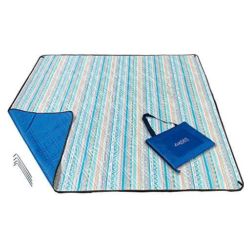 KuoSEN Picnic Blanket Waterproof Sandproof 79''x59'' for People 2-4, Beach Blanket Waterproof, Machine Washable Picnic Blanket Portable, Outdoor Picnic Blanket Extra Large with Spikes (Bohemia)