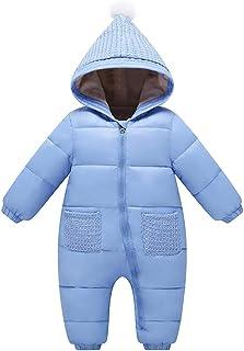 comprar comparacion Bebé Mono Mameluco de Invierno Traje de Nieve Espesar peleles con capucha - Azul, 3-6 Meses