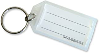 Lucky Line Key Tag with Flap and Split Ring, Clear, 100 per Display Box (6050010)