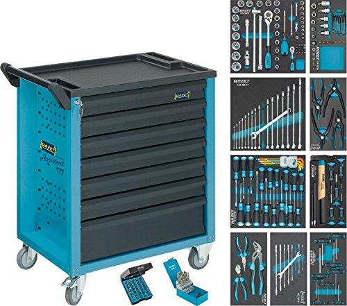 Hazet 177-7/217 Werkstattwagen Assistent mit Sortiment, Anzahl Werkzeuge: 217, 915 x 779,5 x 496 mm, mehrfarbig