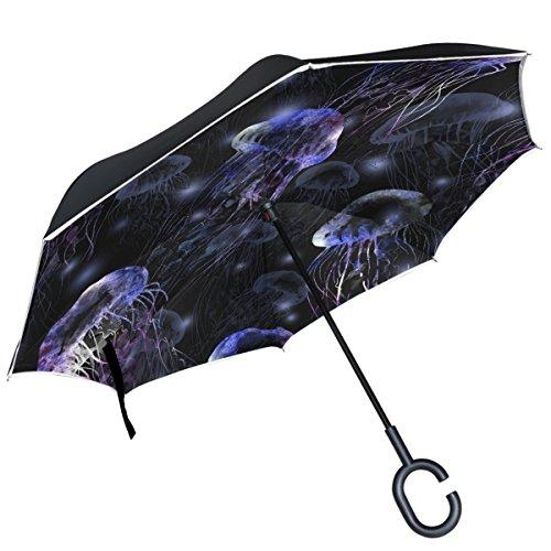 Alaza Watercolor Qualle Wasser seitenverkehrt Regenschirm Double Layer winddicht Rückseite Regenschirm