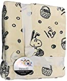 Peanuts Gang Yellow Velvet Soft Plush Throw Blanket with Snoopy, Spring Easter Basket, Bunnies, & Eggs
