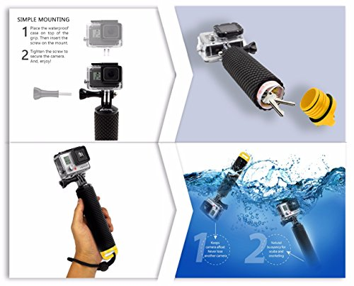 MiPremium Waterproof Floating Hand Grip compatible with GoPro Cameras Hero 9 8 7 6 5 4 3 2 1 Session Black Silver Handler Plus FREE Handle Mount Accessories for Water Sport and Action Cameras (Yellow)