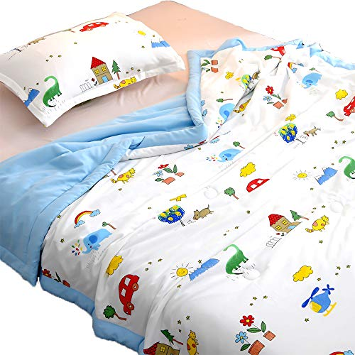 TEALP Kids Twin Comforter Sets for Boys -Elephant Dinosaur Rainbow Car House Mountain Sun Blue-2 Pieces Kid's Boy Comforter Set -100% Cotton Muslin Childrens Bedroom Bed Comforters