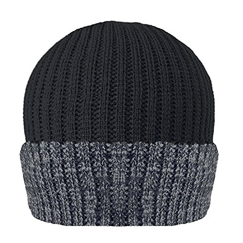 d65ef521eae Mens Knitted Turn Up Thinsulate Thermal Winter Hat Black With (40g)  Thinsulate lining SKI