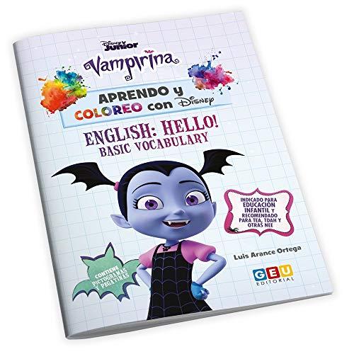 Aprendo y coloreo con Disney: Vampirina | Cuaderno para Colorear con divertidas actividades | Aprendo mis Primeras Palabras En Inglés | Educación Infantil (Niños de 3 a 5 años)