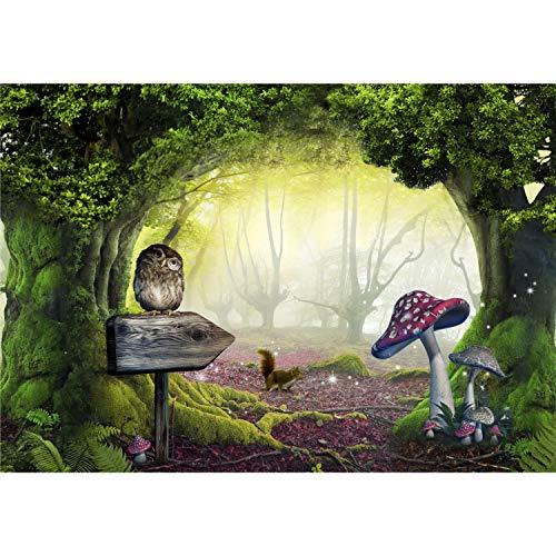 decomonkey Fototapete Kinderzimmer 350x256 cm XL Tapete Fototapeten Vlies Tapeten Vliestapete Wandtapete moderne Wandbild Wand Schlafzimmer Wohnzimmer Wald Tiere Fabel Baum
