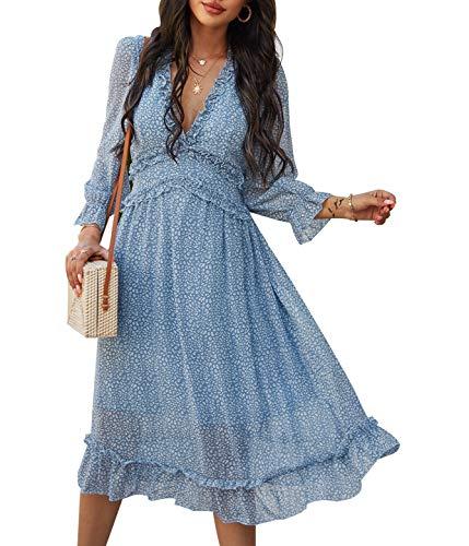 Simplee Women's V Neck Ruffles Floral Printed Long Sleeve Dress High Elastic Waist Flowing Midi Dresses(4-6 Blue)