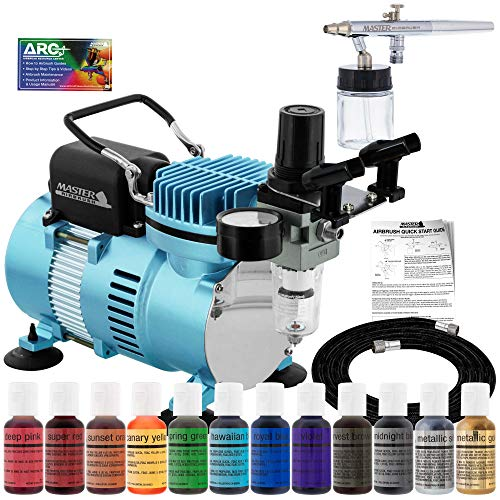 Master Airbrush Cake Decorating Airbrushing System Kit with a Siphon Feed Airbrush, Set of 12 Chefmaster Food Colors, Pro Cool Runner II Dual Fan Air Compressor - Hose, Holder, How to Guide, Cupcakes