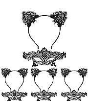 LANMOK 4 Piezas Diadema Orejas de Gato Niña 4 Piezas Máscara de Encaje Negro Mascaras Venecianas Mujer Accesorios de Disfraces para Fiestas Cosplay Disfraz de Carnaval Halloween Mascaradas Cumpleaños