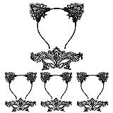 LANMOK 4 Piezas Diadema Orejas de Gato Nia 4 Piezas Mscara de Encaje Negro Mascaras Venecianas Mujer Accesorios de Disfraces para Fiestas Cosplay Disfraz de Carnaval Halloween Mascaradas Cumpleaos