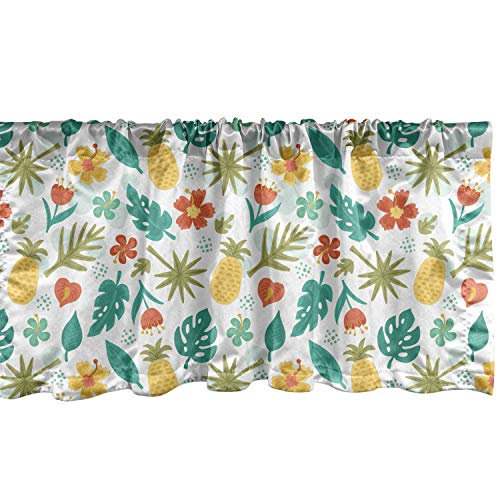 Lunarable Pineapple Window Valance, Hawaiian Hibiscus Monstera and Palm Leaves Hand Drawn Summer Season Elements, Curtain Valance for Kitchen Bedroom Decor with Rod Pocket, 54' X 12', Yellow Teal