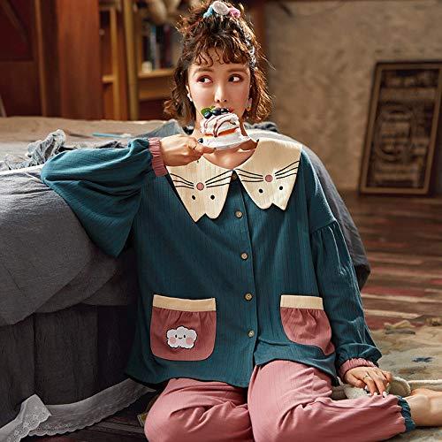 Conjunto De Pijamas Para Mujer,Pijamas De Manga Larga Para Mujer, Conjunto De Blusas Y Pantalones De Algodón Verde Patrón De Dibujos Animados Con Cuello Vuelto Ropa De Dormir Ropa De Dormir Cálid