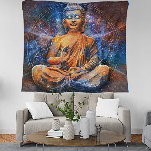 MIANJUNAN wandteppiche,Zen Buddha Statue Wandteppiche Indischen Boho Psychedelic Hippie Wand Hängen Wandteppiche Strandtuch Yoga Matte Decke Werfen, 150 × 100 cm