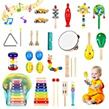 WOOD CITY Toddler Musical Instruments Sets Wooden Percussion Instruments Toy for Kids Preschool Educational Wood Toys with Storage Bag for Kid Baby Babies Children Boys and Girls
