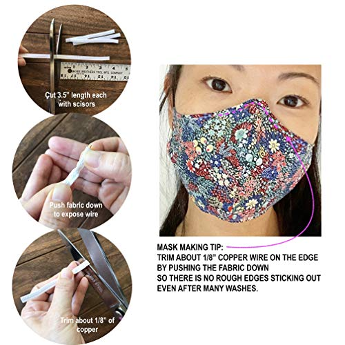 White, 5 Yards - No Plastic Washable Sewable Nose Bridge Strip Fabric Wrapped Copper Wire
