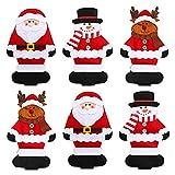 Weihnachten Besteck Taschen, 9 Stück Weihnachten Besteckhalter Schneeflocke Weihnachtsmann Elch Bestecktaschen Geschirrhalter Messer Gabel Taschen Besteck Halter für Weihnachten Tischdekoration