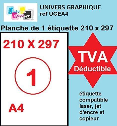 100 feuilles A4 papier adhésif blanc Étiquette autocollante 210 x 297 mm planche adhésive permanente de 1 etiquette m...