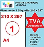 100 A4 hoja 1 para el parachoques 210 x 297 mm papel de etiquetas adhesivas para impresoras de chorro de tinta y láser