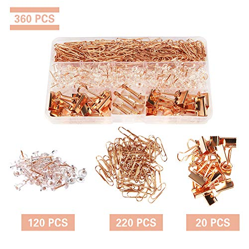 Rose Gold Desk Accessory Push Pins Binder Clips Paper Clips Standard Size Office Supplies Kit Set with Storage Box(Large Pack)