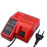 Reemplazo de Milwaukee M12 M18 Multi Voltage Cargador de batería 12V 14.4V 18V M12-18C C1418C M14 Cargador rápido de doble puerto Milwaukee 48-11-1840 48-11-2401 con enchufe estándar de la UE