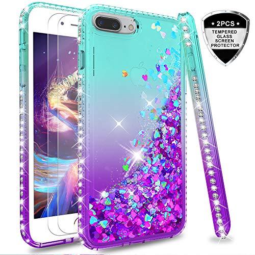 LeYi Hülle iPhone 7 Plus/iPhone 8 Plus Glitzer Handyhülle mit Panzerglas Schutzfolie(2 Stück),Cover Diamond Bumper Schutzhülle für Case iPhone 7 Plus Handy Hüllen ZX Gradient Turquoise Purple