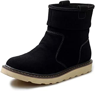 XueQing Pan Ankle Boots for Men Snow Boot Suede Upper Pull on Round Toe Vegan Lightweight Anti-Slip Warm Plush Inside Flat Casual (Color : Black, Size : 7.5 UK)