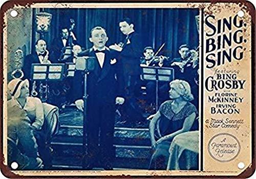 Promini Letrero de metal de la lata de 1933 Bing Crosby Movie Funny Signs Bar Pub Decor Retro Decor Arte de pared 20 x 30 cm