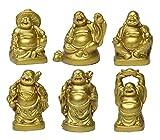 Feng Shui 2'Golden resina figuras de Estatua de Buda sonriente Juego de 6BS019