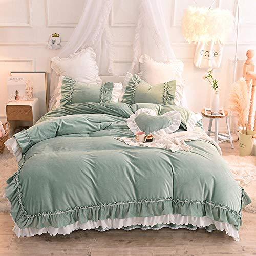 funda nordica cama 150 gris-Falda de cama de encaje para niña de estilo princesa, franela de invierno gruesa, forro polar de doble cara, funda de edredón cálida, sábana, funda de almohada, regalo-seg