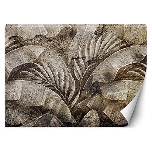Feeby Mural De Pared Hojas Tropicales Exóticas 368x254 cm Gris Sobre Papel Decorativos Murales Dormitorio Oficina Salon Restaurante Plantas Abstracto Textura