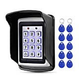 HFeng Control de acceso RFID 125 KHz Teclado impermeable Cubierta exterior + 10pcs EM4100 Llaveros 1000 usuario WG26, luz de fondo, caja metálica
