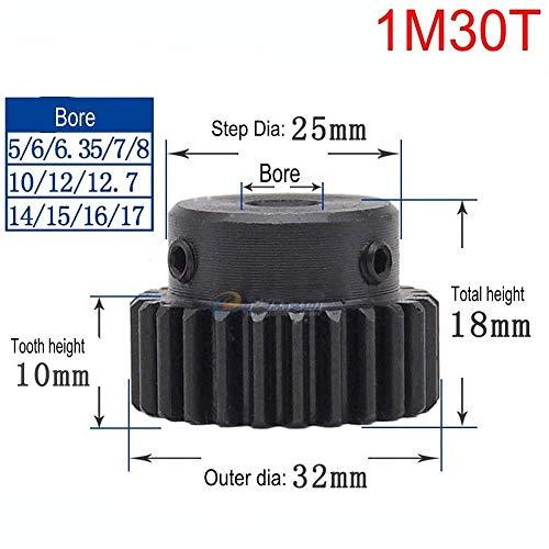 High Precision 1 Mod 30T Spur Gear 45# Steel Heavy Duty Pinion Gear 8mm Bore With Step x 1Pcs (Bore: 8mm; Step Diameter: 25mm, 1Mod 30T)