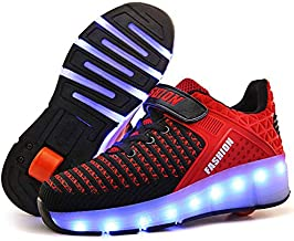 Qneic USB Rechargable LED Light Up Single Wheeled Roller Shoes for Boys Girls Kids Skate Shoes with One Wheels