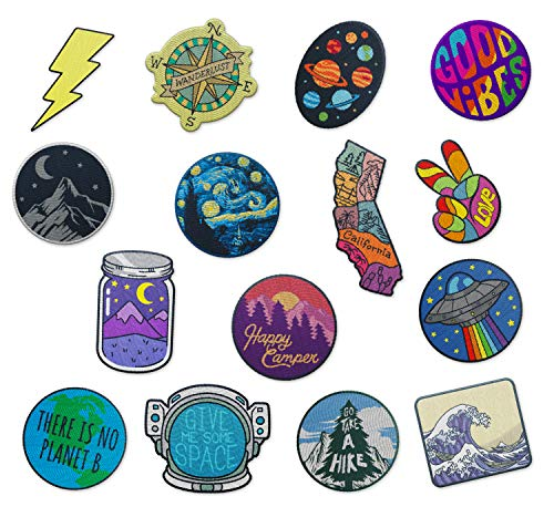 RipDesigns - Large Assorted Set of 15 Aesthetic, Cute and Cool Outdoors Iron On Patches for Jackets Backpacks Jeans and Clothes | Each Embroidered Patch is Durable and Sticks to All Fabrics (Set 2)