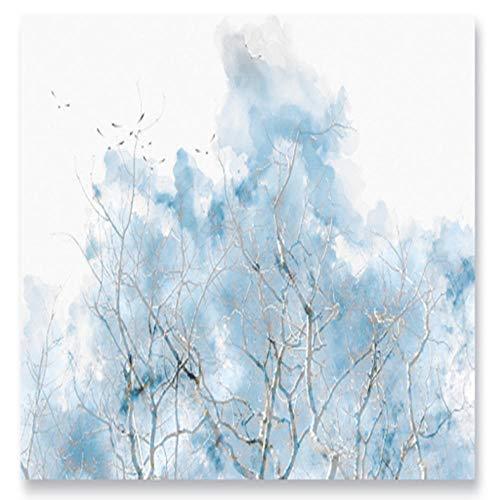 Dalxsh Wallpapers Aangepaste Blauw 3D Vogel Aquarel Dikke Waterdichte Minimalist voor Tv Achtergrond Beddengoed Kamer Studie Woonkamer 350 x 250 cm.