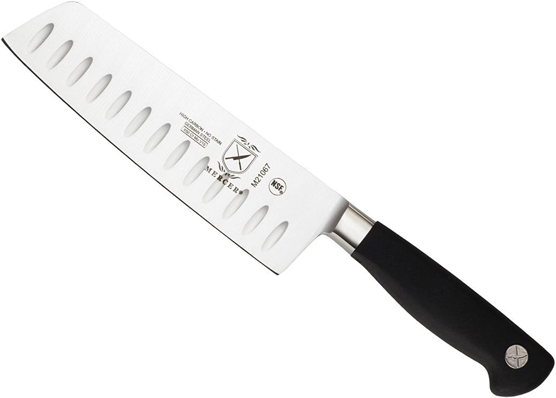 Mercer Culinary Genesis Forged Granton-Edge Nakiri Vegatable Knife, 7 Inch