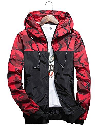 shepretty Herren Jacke Kapuzen Windbreaker Camouflage Zip-Hoodie Sportswear Laufjacke,Rot,XL