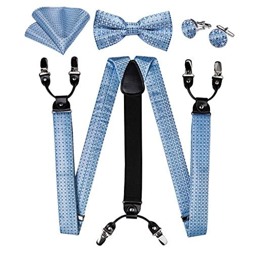 SLATIOM Hombre Suspender 6 clips Peticiones Y Forma Tuspadillas de seda Corbata de lazo Broche Pocket Square Stet Hombres Accesorios (Color : A, Size : Adjustable)
