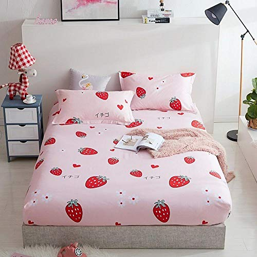 zlzty 100% Cotton Printed Solid Fitted Sheet Mattress Cover Four Corners With Elastic Band Bed Sheet,single duvet cover,duvet cover,king size bedding@Fenfeizhiai_140cmX200cmX25cm