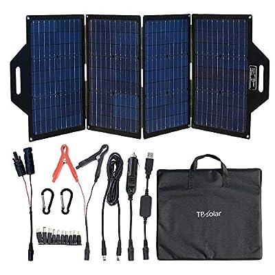 TP-solar 120 Watt Foldable Solar Panel Battery Charger Kit for Portable Generator Power Station Cell Phones Laptop 12V Car Boat RV Trailer Battery Charge (Dual 5V USB & 19V DC Output)
