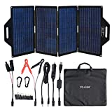 TP-solar 120 Watt Foldable Solar Panel Battery Charger Kit for Portable Generator Power Station Cell Phones Laptop 12V Car Boat RV Trailer Battery Charge (Dual 5V USB & 19V DC Output)
