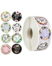 1Pack Thank You Stickers 500Pcs,8 Different Designs,1.5 Inch Stickers for Company Giveaway & Birthday Party Favors | Labels & Mailing Supplies for Small Business Boutique Bags & Mercha
