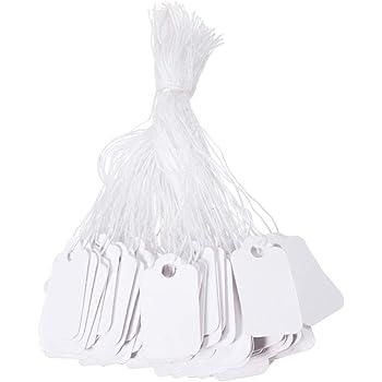 "500 Uni Blanc Blanc Bijoux balises Robuste Papier 1/"" string Prix Stock Tag"